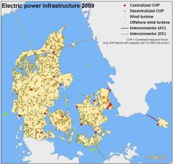 Danish electric power infrastructure in 1985 (left) and in 2009 (Danish Energy Agency) (click to enlarge)