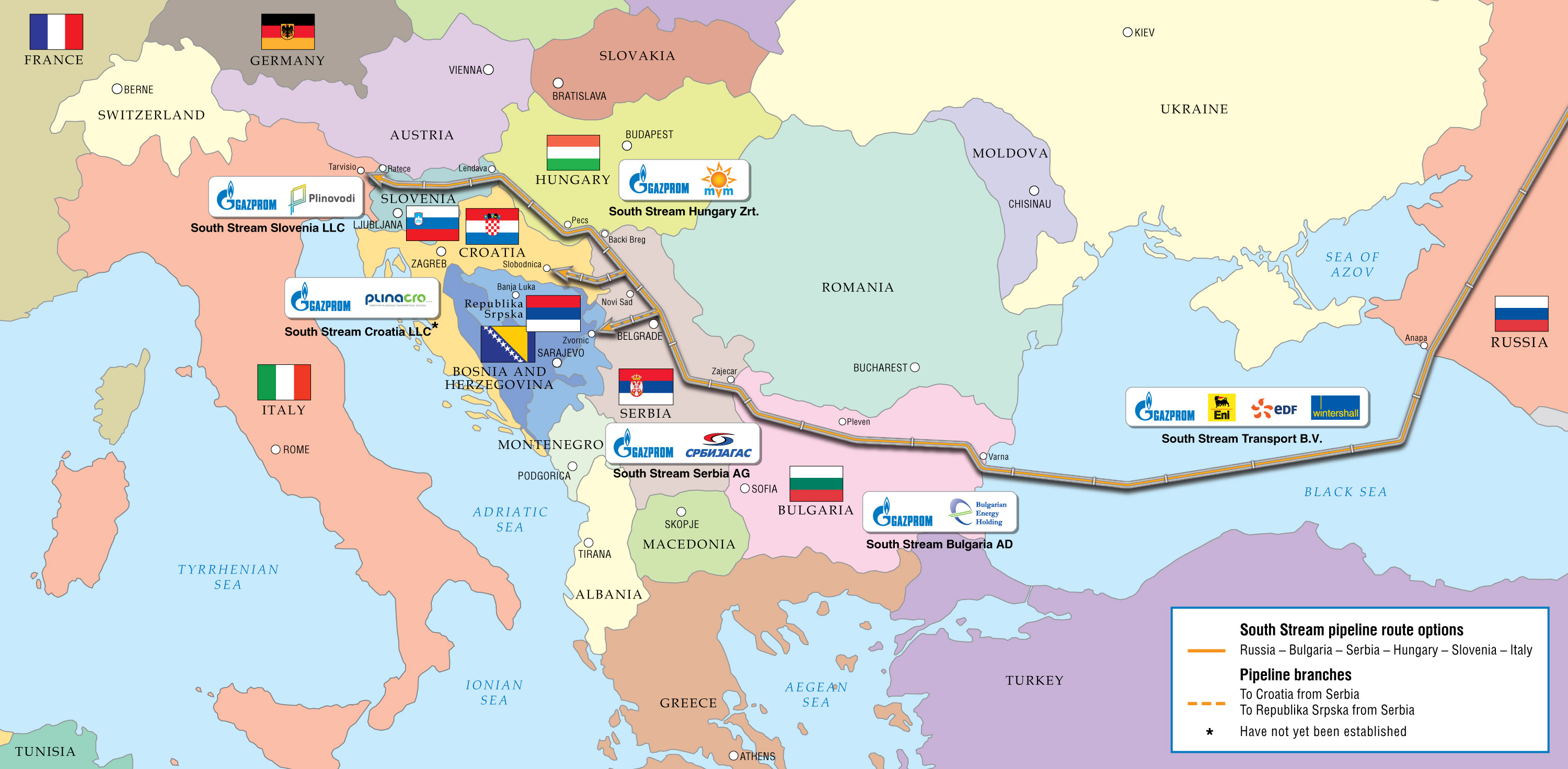 South Stream options before Austria entered the picture.