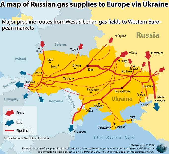map of Russian gas supplies to Ukraine