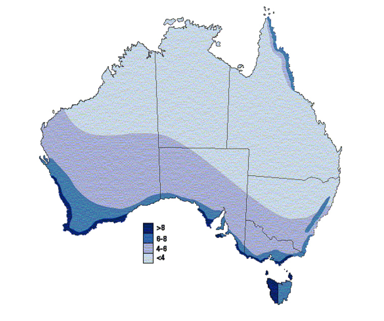Wind speed map of Australia. The darker blue indicates higher speeds and more potential for effective wind farms - much of South Australia's south coast is well suited for it.