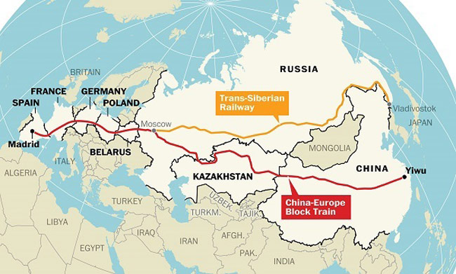 Yiwu-Madrid line and Trans-Siberian line