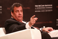 Governor Chris Christie of New Jersey speaking at an event hosted by The McCain Institute in Phoenix, Arizona (photo Gage Skidmore)