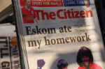 Front page headline of The Citizen in South Africa on Saturday 19 January 2008. It refers to the load shedding that had caused often unannounced blackouts over the week. (Credit: Paul Keller, via Flickr)