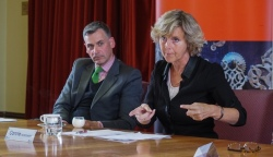 Nick Rowley and Connie Hedegaard at Sydney meeting (photo Christopher Wright)