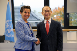 UNFCCC Executive Secretary Christiana Figueres meets newly appointed Vice-chair of the IPCC Mr. Hoesung LEE (photo UNFCCC)