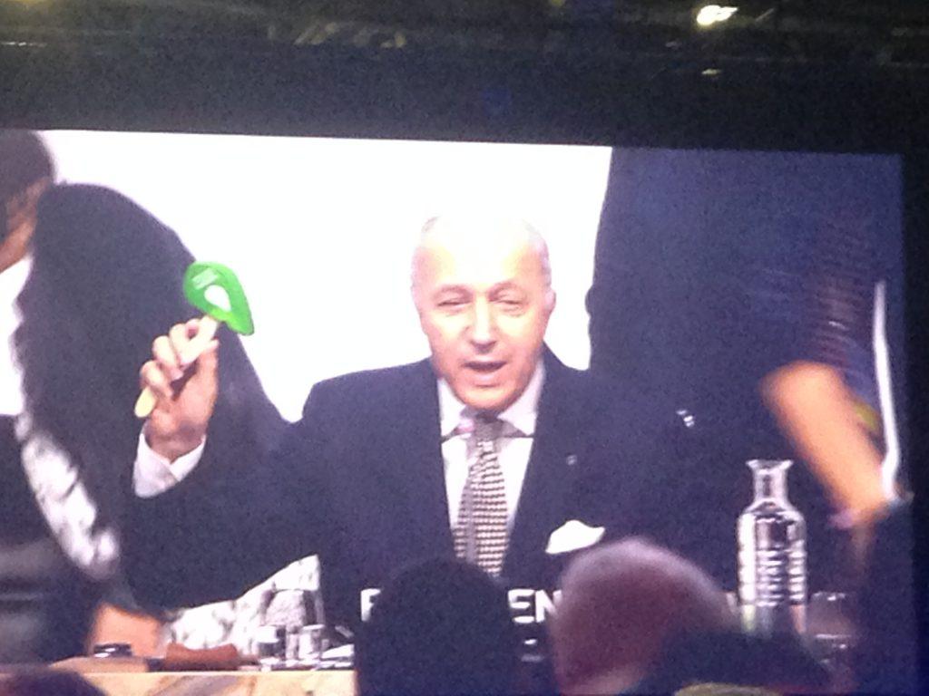 Laurent Fabius bangs down his gavel after the climate deal is sealed (photo Sonja van Renssen)