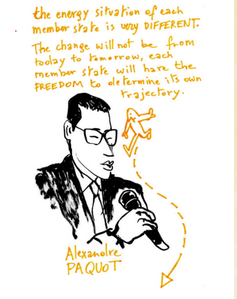 Drawing made by artist Pieter Fannes (http://www.pieterfannes.com/) during the Energy Dialogue Event, 18 November in Brussels