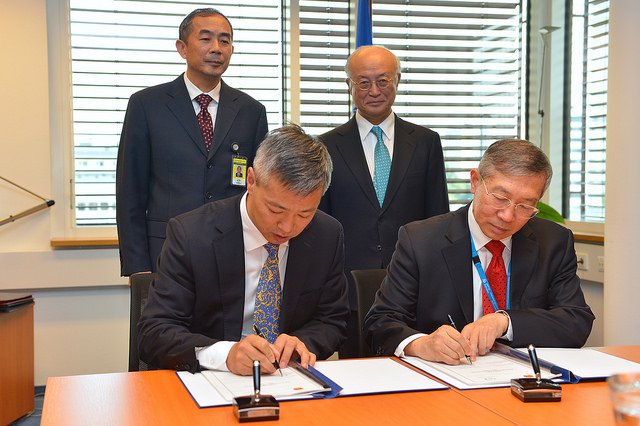 Lixin Shen, Deputy Director General, Department of System Engineering, China Atomic Energy Authority, and Dazhu Yang, IAEA Deputy Director General and Head of the Department of Technical Cooperation, signed China's Country Programme Framework (CPF) for 2016-2021 on 26 September 2016. A CPF is the frame of reference for the medium-term planning of technical cooperation between a Member State and the IAEA
