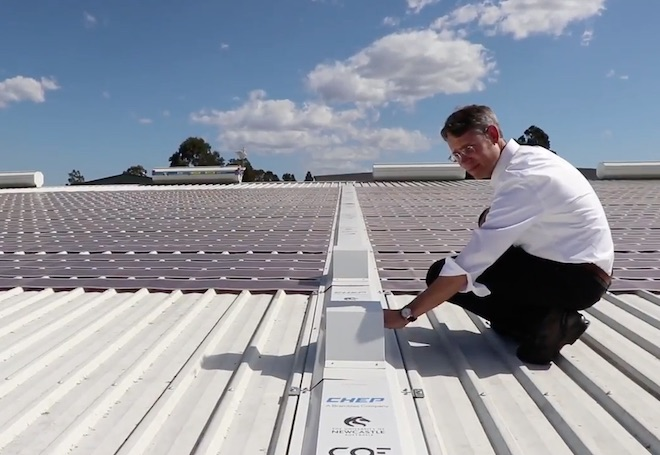 The new rooftop array of printed flexible solar cells on a building owned by CHEP. Photo: University of Newcastle