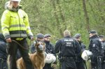 Police patrolling Hambach forest. Pic: Hambacher Forst, republished under creative commons.