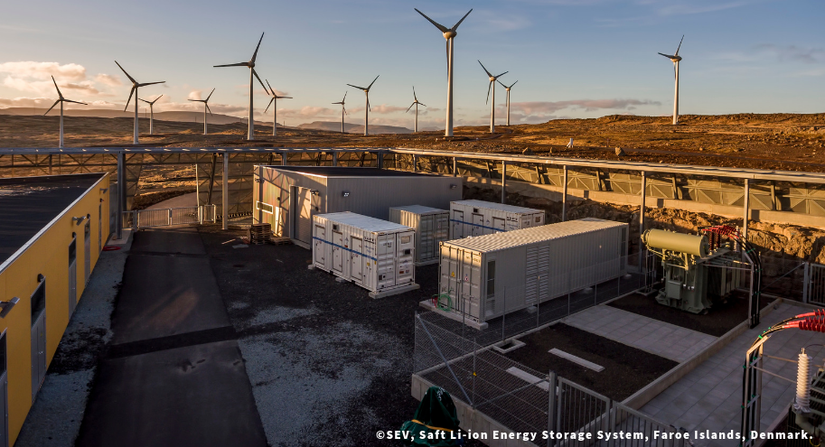 Already now on islands and in microgrids, storage is part of the solution to decarbonise the system: storage together with variable renewable energy and smart grids is generally more economical and environmentally friendly than diesel-powered generators.This picture shows a Saft Li-ion energy storage that enables SEV to optimise wind power for the Faroe Islands at Husahagi. Source: SEV.