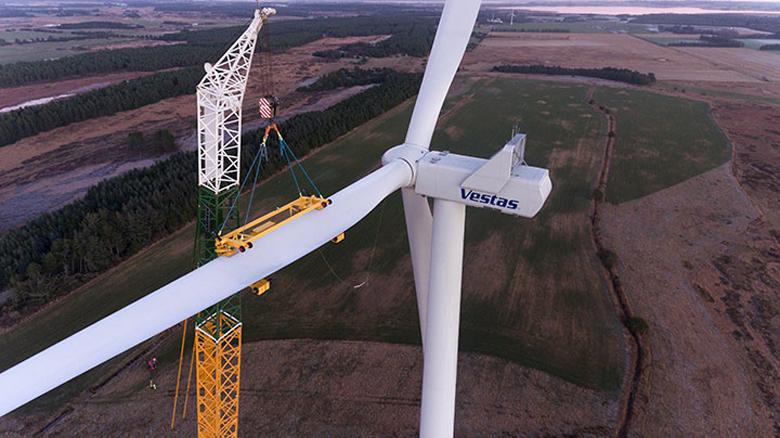 """Installation of the first Vestas V136-3.45 MW® turbine. Credit: <a href=""""https://www.vestas.com/en/products/4-mw-platform/v136-_3_45_mw#!first-turbine-installed"""" target=""""_blank"""" rel=""""noopener noreferrer"""">Vestas</a>"""